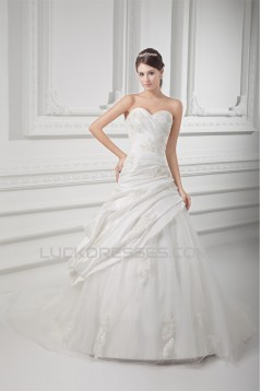 Sleeveless Ball Gown Taffeta Tulle Sweetheart Embellished Wedding Dresses 2031318