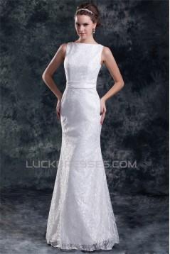 Sleeveless Bateau Mermaid/Trumpet Satin Lace Sweet Wedding Dresses 2031319