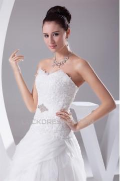 Fantastic A-Line Satin Organza Lace Sweetheart Wedding Dresses 2030132