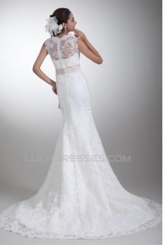 Sleeveless Bateau Satin Lace Mermaid/Trumpet Sweet Wedding Dresses 2031320