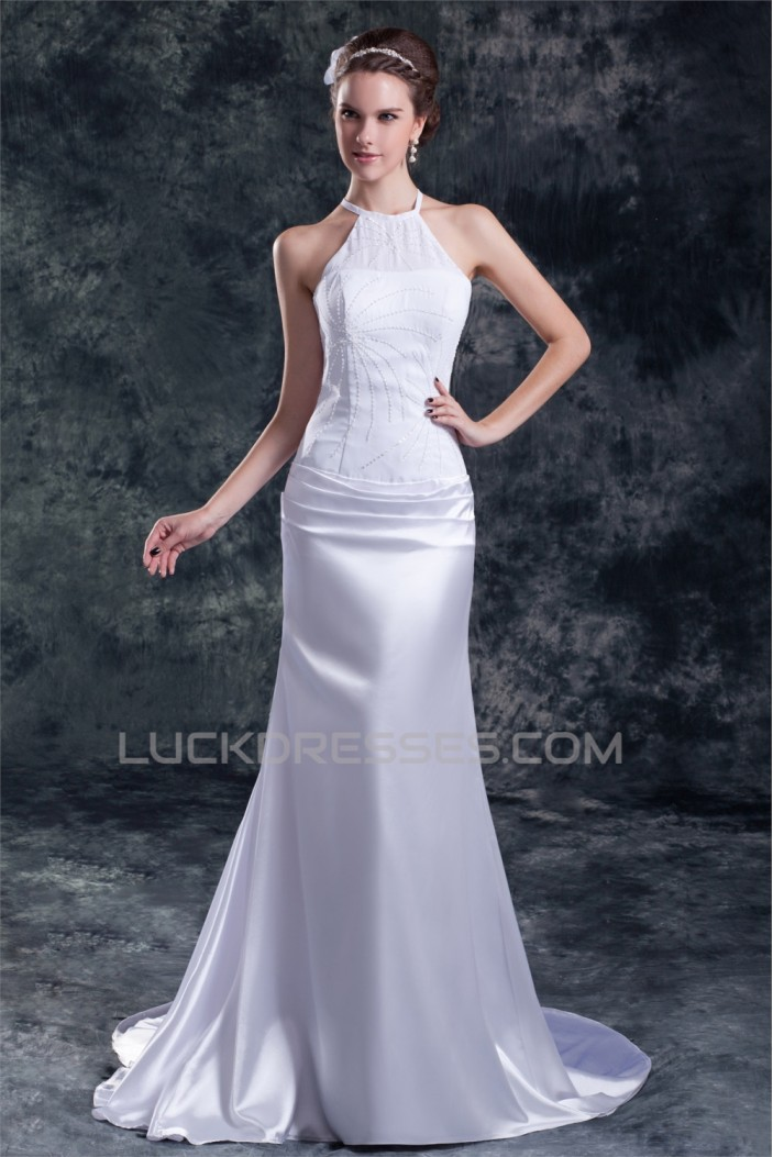Sleeveless Chiffon Elastic Woven Satin Halter Beaded Wedding Dresses 2031321