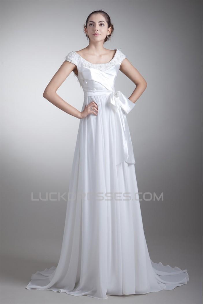 Sleeveless Chiffon Taffeta Lace A-Line Off-the-Shoulder Wedding Dresses 2031323