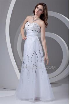 Sleeveless Floor-Length Satin Organza Sheath/Column Beaded Wedding Dresses 2031324