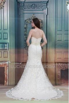 Sleeveless Mermaid/Trumpet Strapless Satin Lace Wedding Dresses 2031325