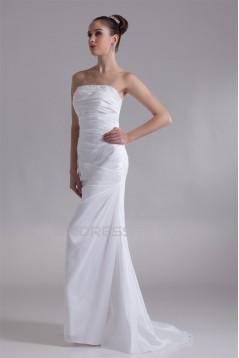 Sleeveless Mermaid/Trumpet Taffeta Strapless Beaded Wedding Dresses 2031326