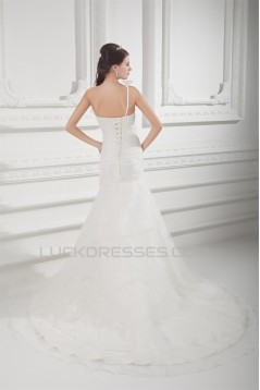 Sleeveless One-Shoulder A-Line Satin Organza Embellished Wedding Dresses 2031327