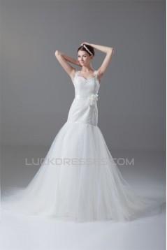 Sleeveless Satin Lace Fine Netting Sweet Wedding Dresses 2031329
