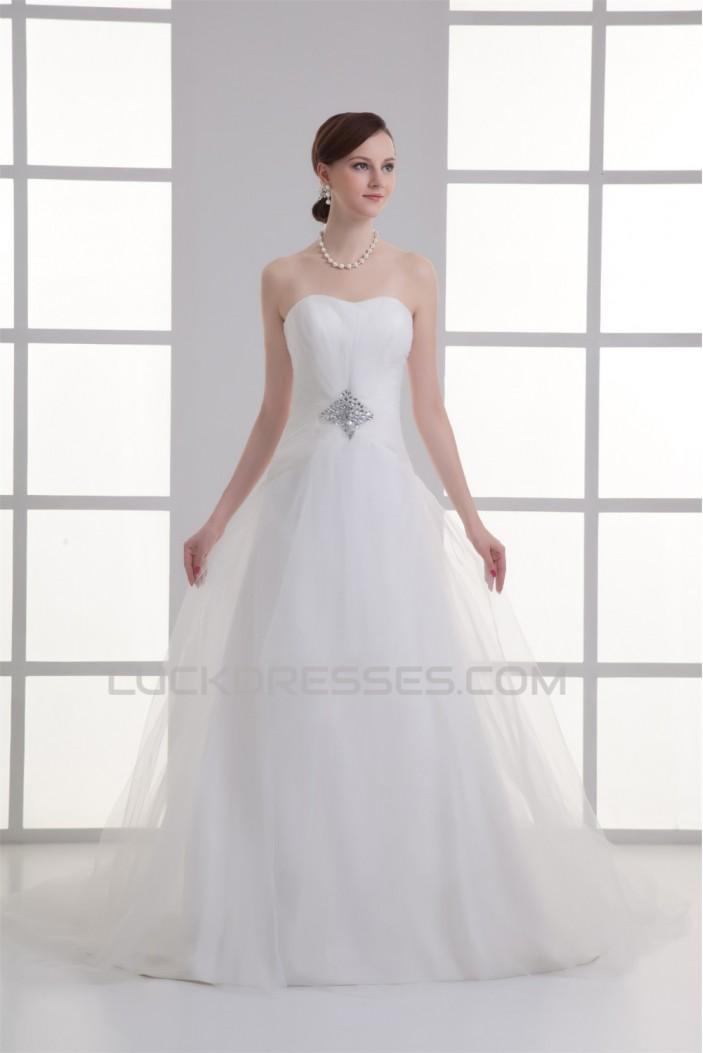 Sleeveless Satin Fine Netting A-Line Strapless Beaded Wedding Dresses 2031330