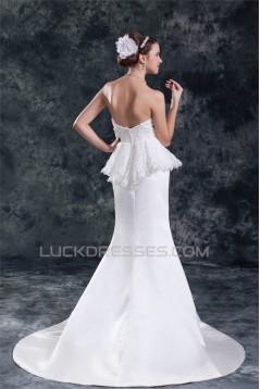 Sleeveless Satin Lace Sweetheart Mermaid/Trumpet Beautiful Wedding Dresses 2031333