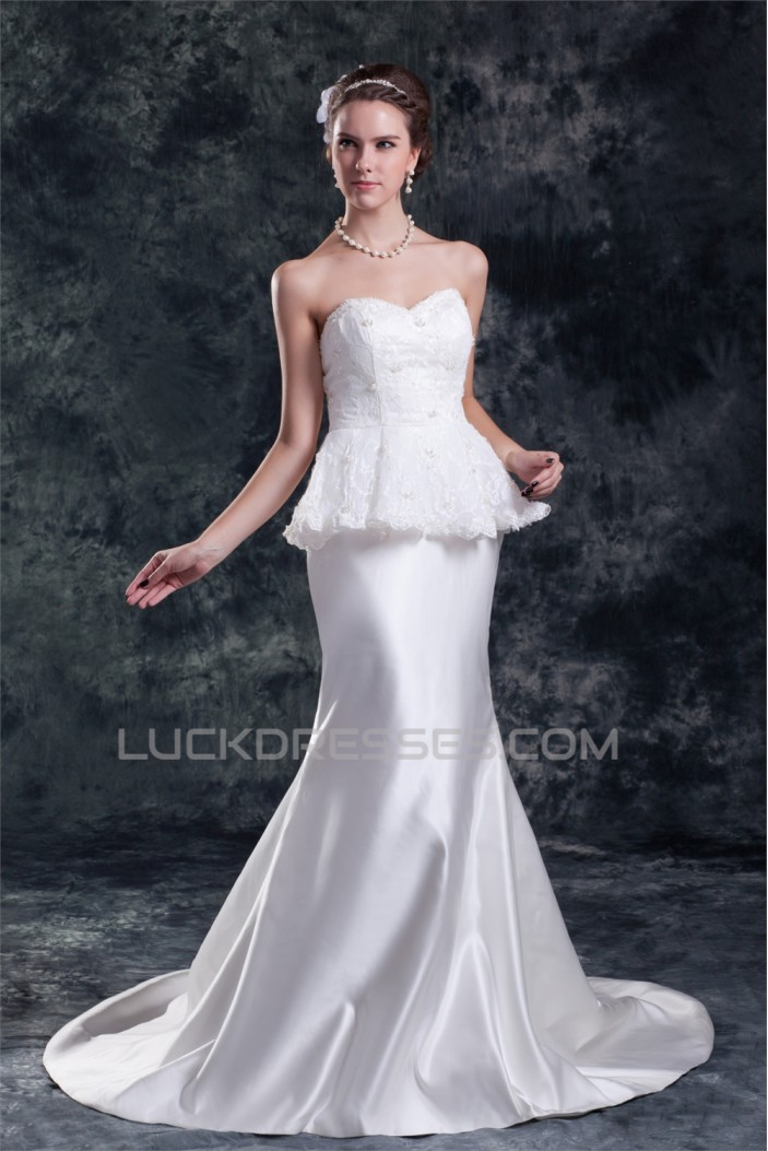 Sleeveless Satin Lace Sweetheart Mermaid/Trumpet Beautiful Wedding Dresses 2031333