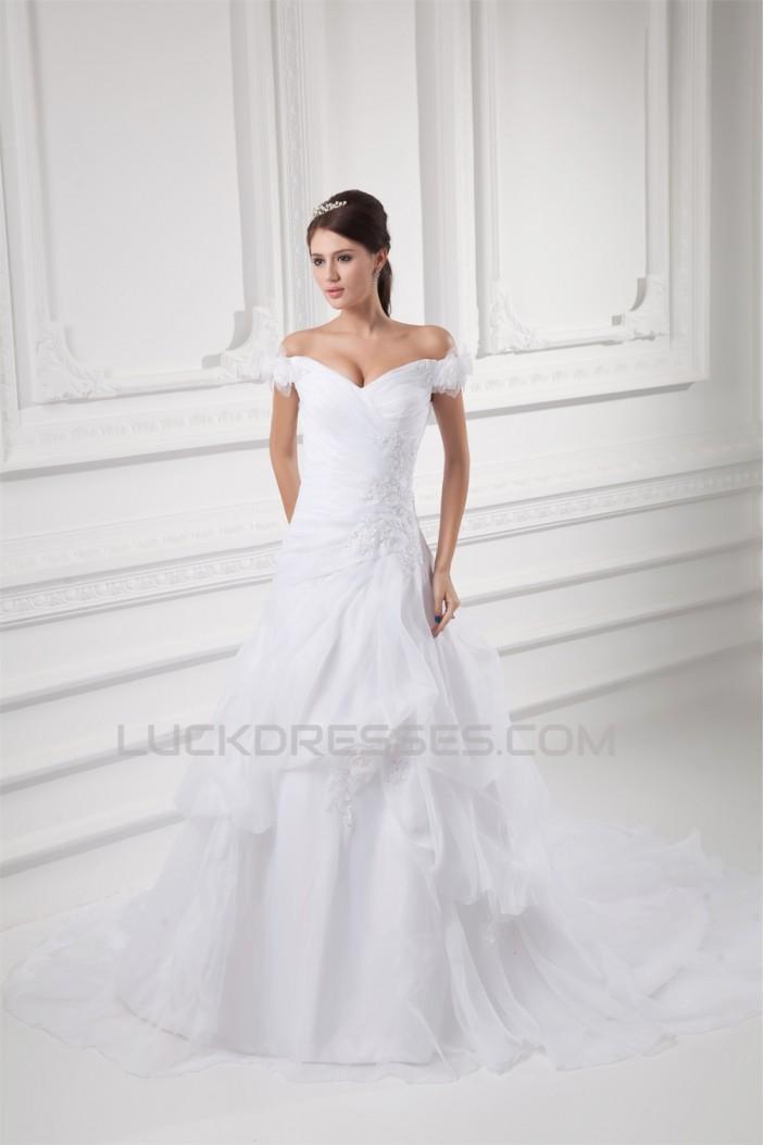 Sleeveless Satin Organza Off-the-Shoulder Sweet Wedding Dresses 2031334