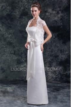 Sleeveless Satin Sheath/Column Sweetheart Wedding Dresses with Lace Jacket 2031335