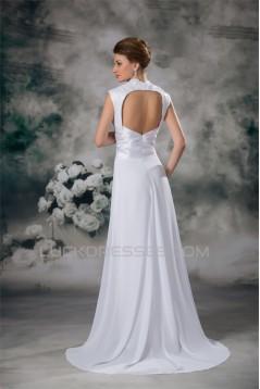 Sleeveless Sheath/Column Cowl Chiffon Elastic Woven Satin Wedding Dresses 2031337