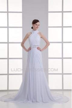 Sleeveless Sheath/Column High-Neck Chiffon Beaded Wedding Dresses 2031339
