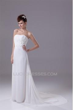 A-Line Strapless Chiffon Sweep Train Beaded Wedding Dresses 2030134