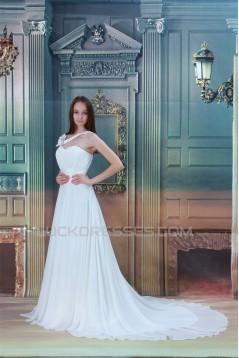 Sleeveless Sheath/Column One-Shoulder Chiffon Satin Wedding Dresses 2031340