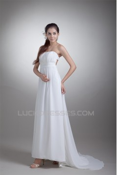 Sleeveless Sheath/Column Strapless Chiffon Wedding Dresses 2031341