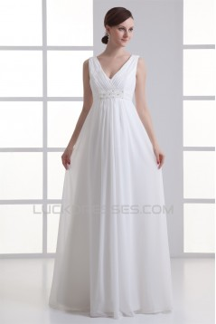 Sheath/Column V-Neck Chiffon Beaded Wedding Dresses Maternity Wedding Dresses 2031342