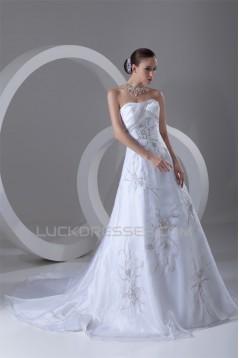 Sleeveless Soft Sweetheart A-Line Satin Organza Beaded Wedding Dresses 2031343