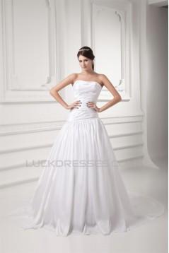 A-Line Soft Sweetheart Taffeta A-Line Wedding Dresses 2031347