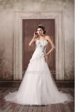Sleeveless Strapless A-Line Satin Lace Fine Netting Embellished Wedding Dresses 2031348