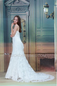 Sleeveless Strapless Mermaid/Trumpet Satin Lace Wedding Dresses 2031349