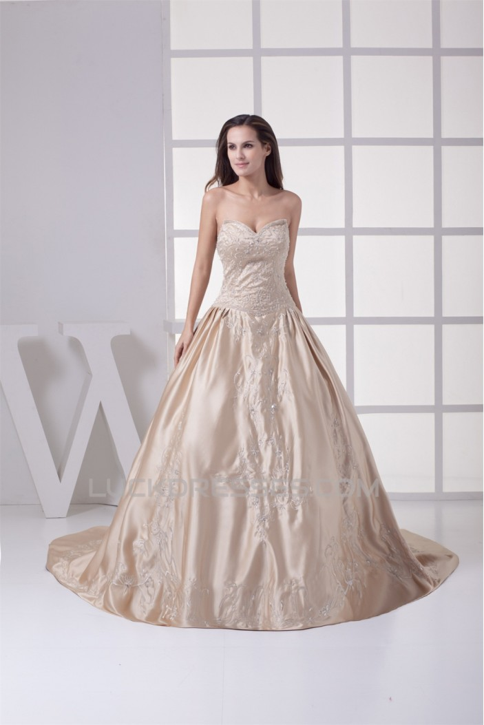 Fantastic Ball Gown Sweetheart Satin Sleeveless Wedding Dresses 2030135