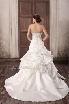 Sleeveless Strapless Satin Ball Gown Embellished Wedding Dresses 2031350