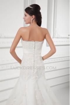 Sleeveless Strapless Satin Lace Fine Netting Wedding Dresses 2031351