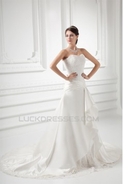 Sleeveless Sweetheart A-Line Satin Lace Embellished Wedding Dresses 2031353