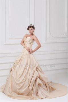 Sleeveless Sweetheart Ball Gown Taffeta Tulle Wedding Dresses 2031354