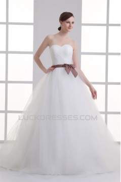 Sleeveless Sweetheart Princess Satin Fine Netting Wedding Dresses 2031356