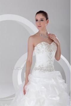 Sleeveless Sweetheart Satin Organza Princess Wedding Dresses 2031357