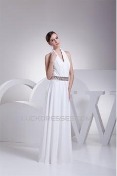 A-Line Halter Beaded Chiffon Sleeveless Wedding Dresses 2030136