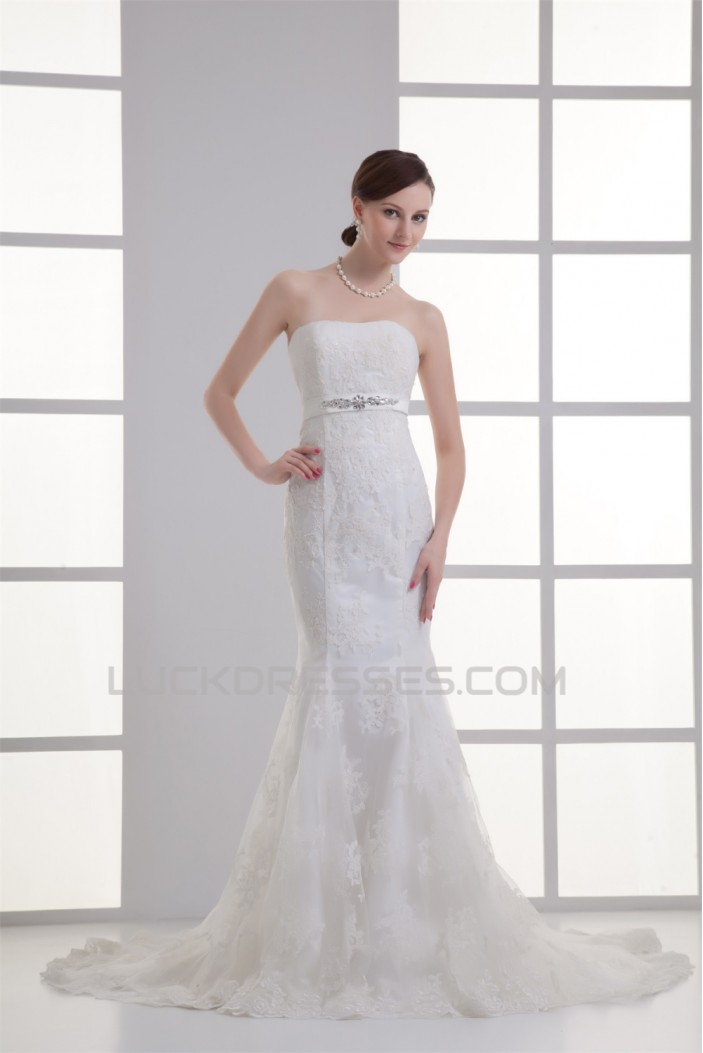 Soft Sweetheart Satin Lace Mermaid/Trumpet Beautiful Wedding Dresses 2031361