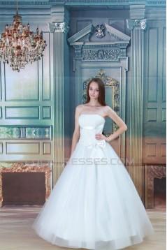 Strapless Ball Gown Satin Fine Netting Sleeveless Wedding Dresses 2031363