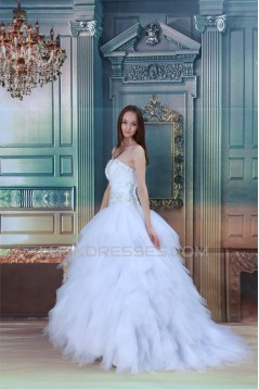 Strapless Ball Gown Sleeveless Satin Beaded Wedding Dresses 2031364