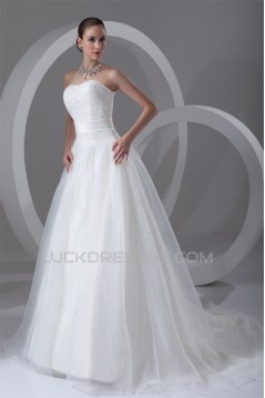 Strapless Ball Gown Sleeveless Satin Organza Wedding Dresses 2031365