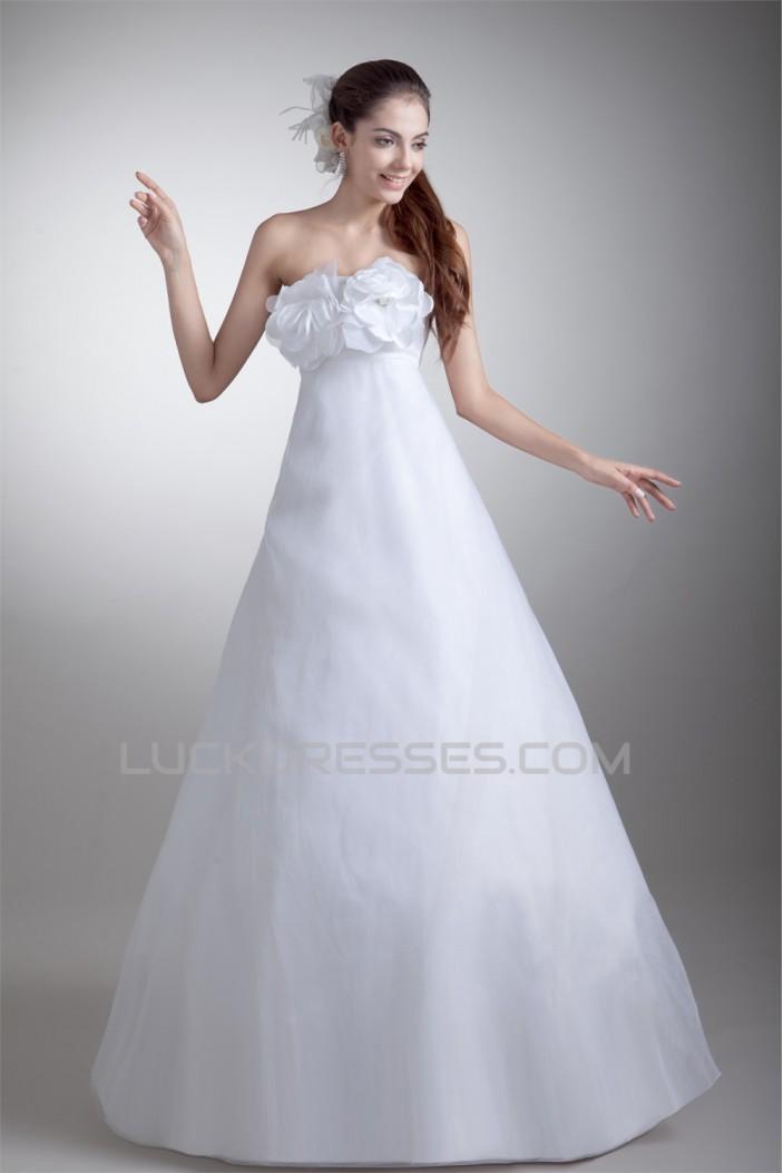Strapless Satin Organza A-Line Sleeveless Wedding Dresses 2031367