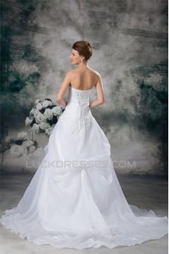 Strapless Satin Organza Sleeveless A-Line Lace Wedding Dresses 2031369