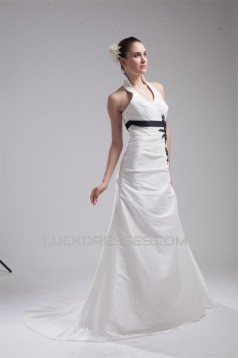 Fantastic Halter Taffeta A-Line Sleeveless Wedding Dresses 2030137