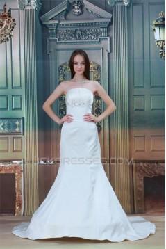 Strapless Satin Sleeveless Mermaid/Trumpet Best Wedding Dresses 2031370