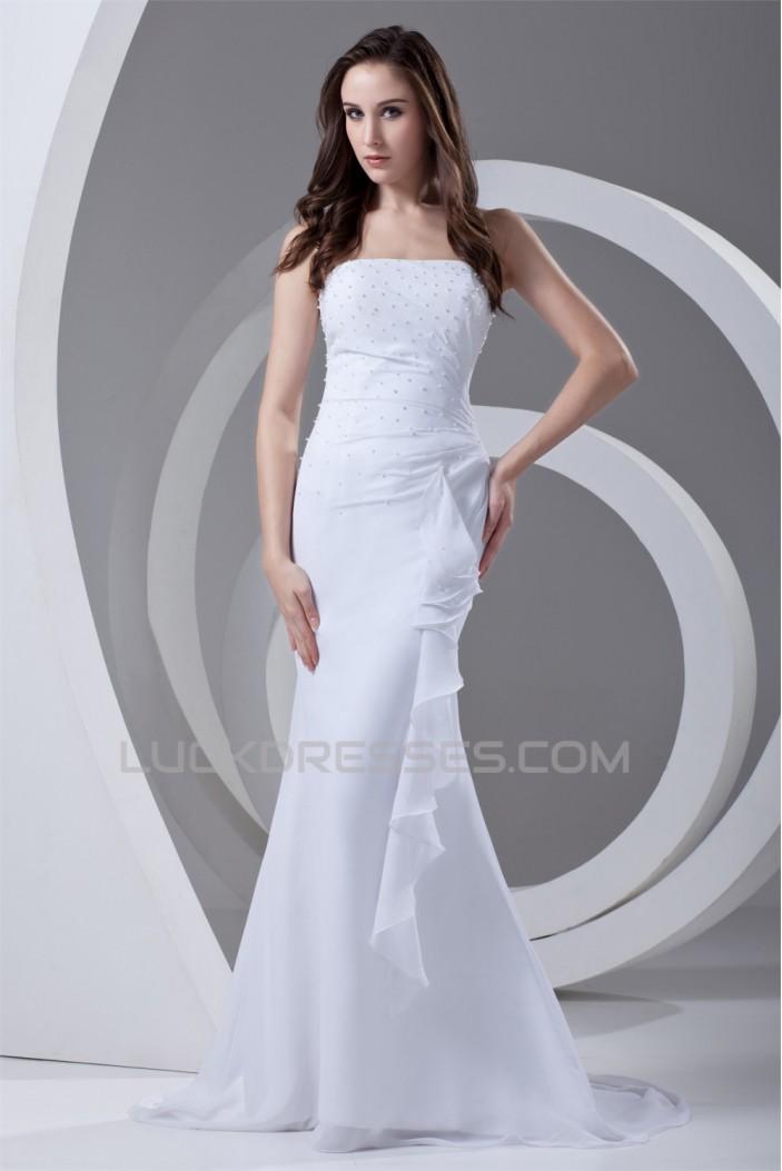 Trumpet/Mermaid Strapless Chiffon Beaded Wedding Dresses 2031371