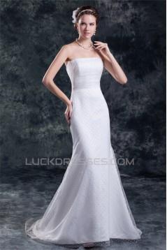Strapless Sleeveless Mermaid/Trumpet Satin Fine Netting Wedding Dresses 2031372