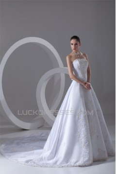 Strapless Sleeveless Satin A-Line Most Beautiful Wedding Dresses 2031373