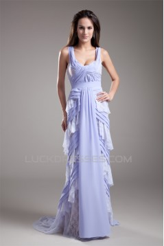 Straps Sheath/Column Chiffon Lace Wedding Dresses 2031376