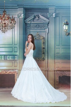 Sweetheart A-Line Satin Taffeta Sleeveless Beaded Lace Wedding Dresses 2031377
