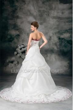Sweetheart A-Line Sleeveless Taffeta Wedding Dresses 2031379