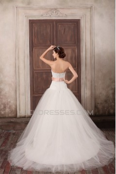 Sweetheart Ball Gown Satin Lace Fine Netting Sweet Wedding Dresses 2031381