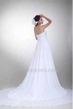 Sweetheart Chiffon Satin Sleeveless A-Line Wedding Dresses 2031382